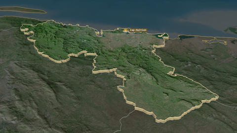 Nord extruded. Haiti. Stereographic satellite map Animation
