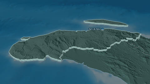 Nord-Ouest extruded. Haiti. Stereographic administrative map Animation
