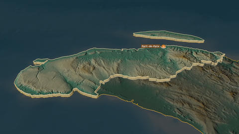 Nord-Ouest extruded. Haiti. Stereographic relief map Animation