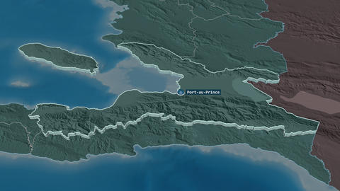 Ouest extruded. Haiti. Stereographic administrative map Animation