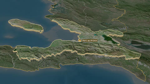Ouest extruded. Haiti. Stereographic satellite map Animation
