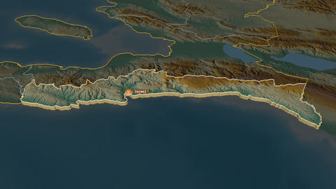 Sud-Est extruded. Haiti. Stereographic relief map Animation