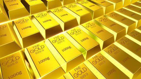Gold bar ingots animation for background of finance, 3d rendering animation stock of gold Animation