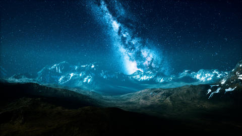 Milky Way over the mountain peaks Live Action