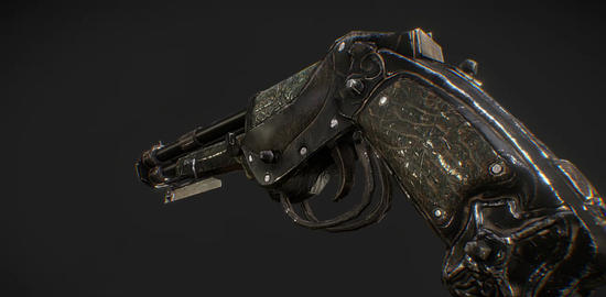 Steampunk gun game model 3D Model