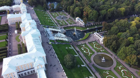 Aerial view of Peterhof Palace, with the gardens, parks, water fountains and Live Action