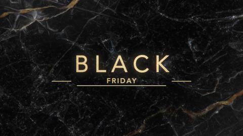 Animation intro text Black Friday on black fashion and minimalism background with gold Animation