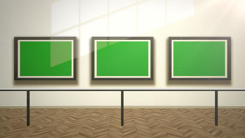 Motion camera in art gallery with picture and modern frame with green mock-up screen, art background Animation