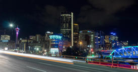 Epic Hyperlapse of Calgary Skyline at night. Calgary Alberta Footage