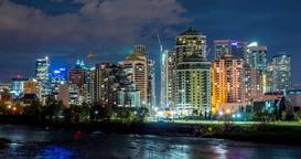 Hyperlapse of Calgary skyline at night Footage