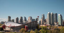 Hyperlapse of Calgary Skyline and Saddledome stadium Footage