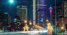 Hyperlapse of Lion Statue on Centre Street Bridge in Calgary, Alberta Footage