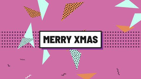 Animation text Merry Xmas and motion abstract geometric shapes, Memphis background Animation