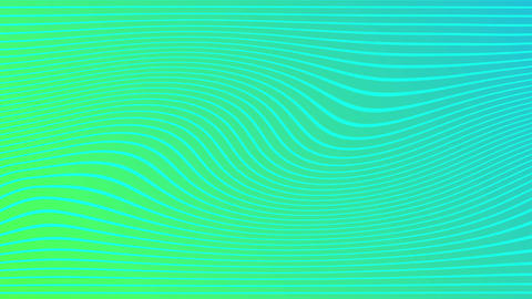 2d animation of rows and rows of colorful green stripes rippling. Colorful wave Live Action