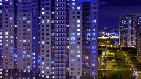 night window timelapse. architecture of the night city, urbanistic view of the building Live Action