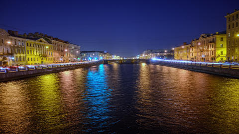 St. Petersburg, water canals with boats. architecture of the old town, historical sites Live Action