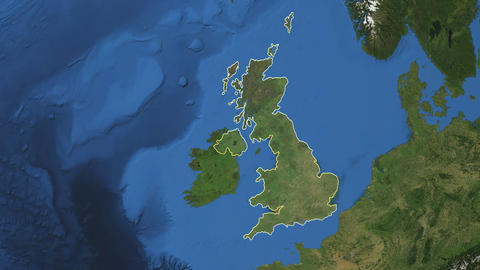 United-Kingdom. 3D Earth in space - zoom in on United-Kingdom outlined. Green screen background Animation