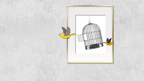 hand drawn animation - birds flying out of a painting surreal freedom concept Animation