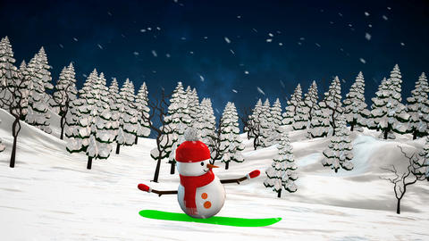 Snowman on snowboard Animation