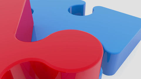 Moving puzzle pieces in red and blue colors on white Animation