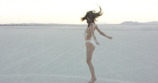 Exotic girl dancing in the desert Stock Video Footage