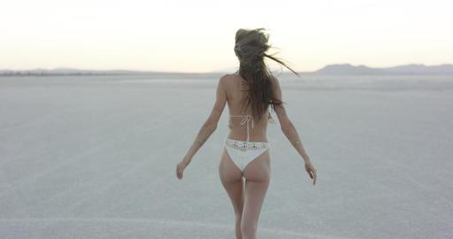 Exotic girl dancing in the desert Footage