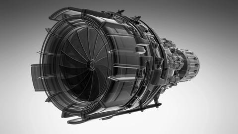 rotate jet engine turbine of plane, aircraft concept Footage