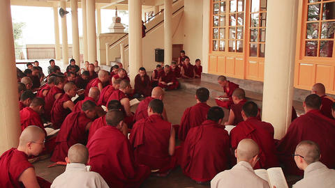 Evening Prayer Tsuglagkhang Temple Monks Buddhism Footage