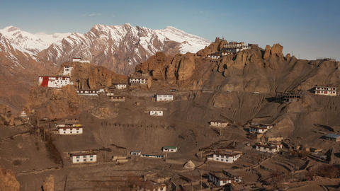 Dhankar Gompa 4K Time Lapse Panorama Stock Video Footage