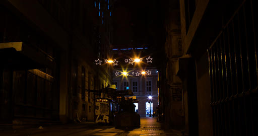 Dark passage. New Year / Christmas decorations. People passing by, bying books Footage
