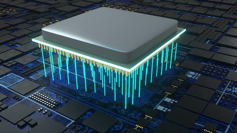 Central Computer Processors, computer generated. 3d rendering of CPU concept Live Action