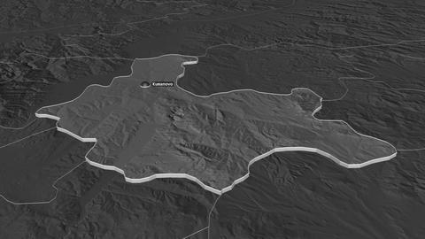 Kumanovo extruded. Macedonia. Stereographic bilevel map Animation