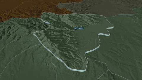 Lipkovo extruded. Macedonia. Stereographic administrative map Animation