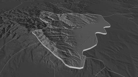 Lipkovo extruded. Macedonia. Stereographic bilevel map Animation