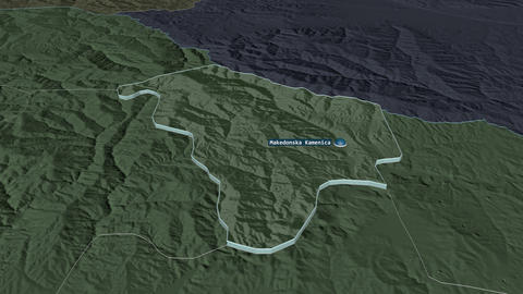 Makedonska Kamenica extruded. Macedonia. Stereographic administrative map Animation