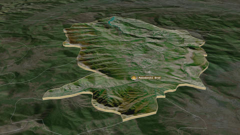Makedonski Brod extruded. Macedonia. Stereographic satellite map Animation