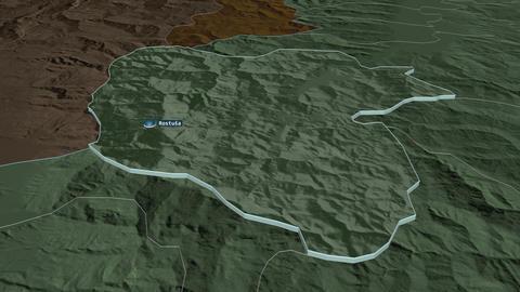 Mavrovo and Rostusa extruded. Macedonia. Stereographic administrative map Animation