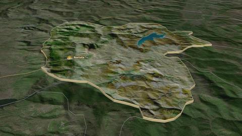 Mavrovo and Rostusa extruded. Macedonia. Stereographic satellite map Animation