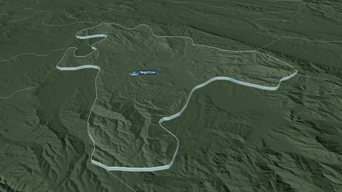 Negotino extruded. Macedonia. Stereographic administrative map Animation