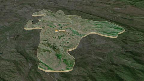 Negotino extruded. Macedonia. Stereographic satellite map Animation