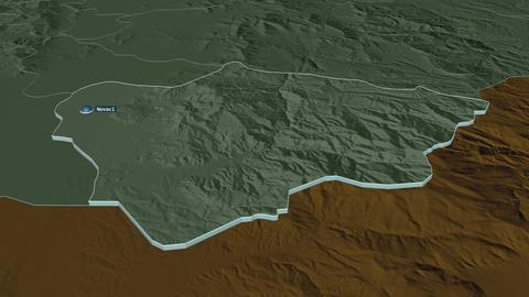 Novatsi extruded. Macedonia. Stereographic administrative map Animation