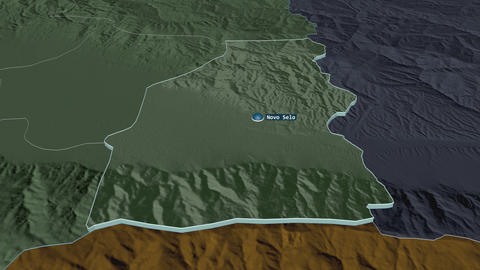 Novo Selo extruded. Macedonia. Stereographic administrative map Animation