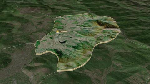 Oslomej extruded. Macedonia. Stereographic satellite map Animation