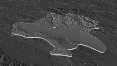 Radovis extruded. Macedonia. Stereographic bilevel map Animation