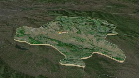 Radovis extruded. Macedonia. Stereographic satellite map Animation