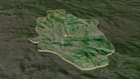 Rankovce extruded. Macedonia. Stereographic satellite map Animation