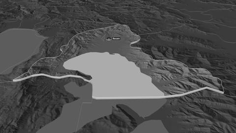 Resen extruded. Macedonia. Stereographic bilevel map Animation