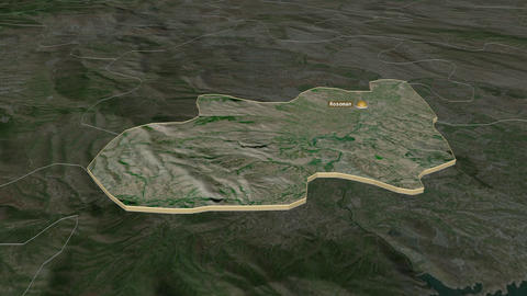 Rosoman extruded. Macedonia. Stereographic satellite map Animation