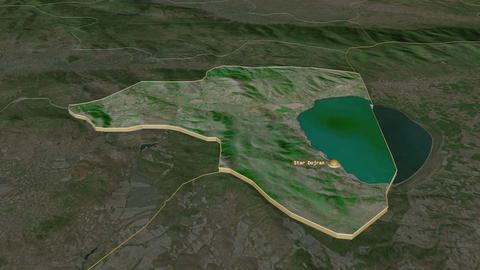 Star Dojran extruded. Macedonia. Stereographic satellite map Animation