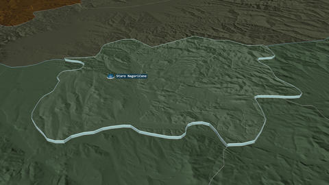 Staro NagoriÄŤane extruded. Macedonia. Stereographic administrative map Animation